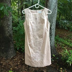 Calvin Klein lined cotton dress with Embroidery